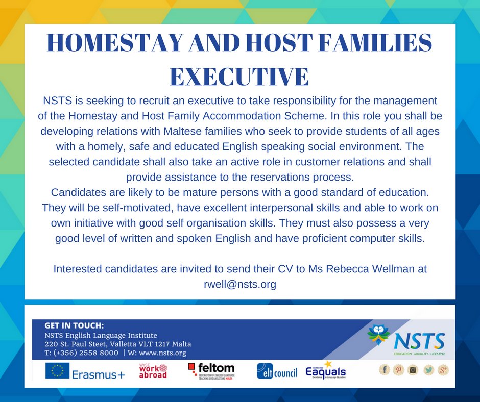 Job offer for Homestay Executive